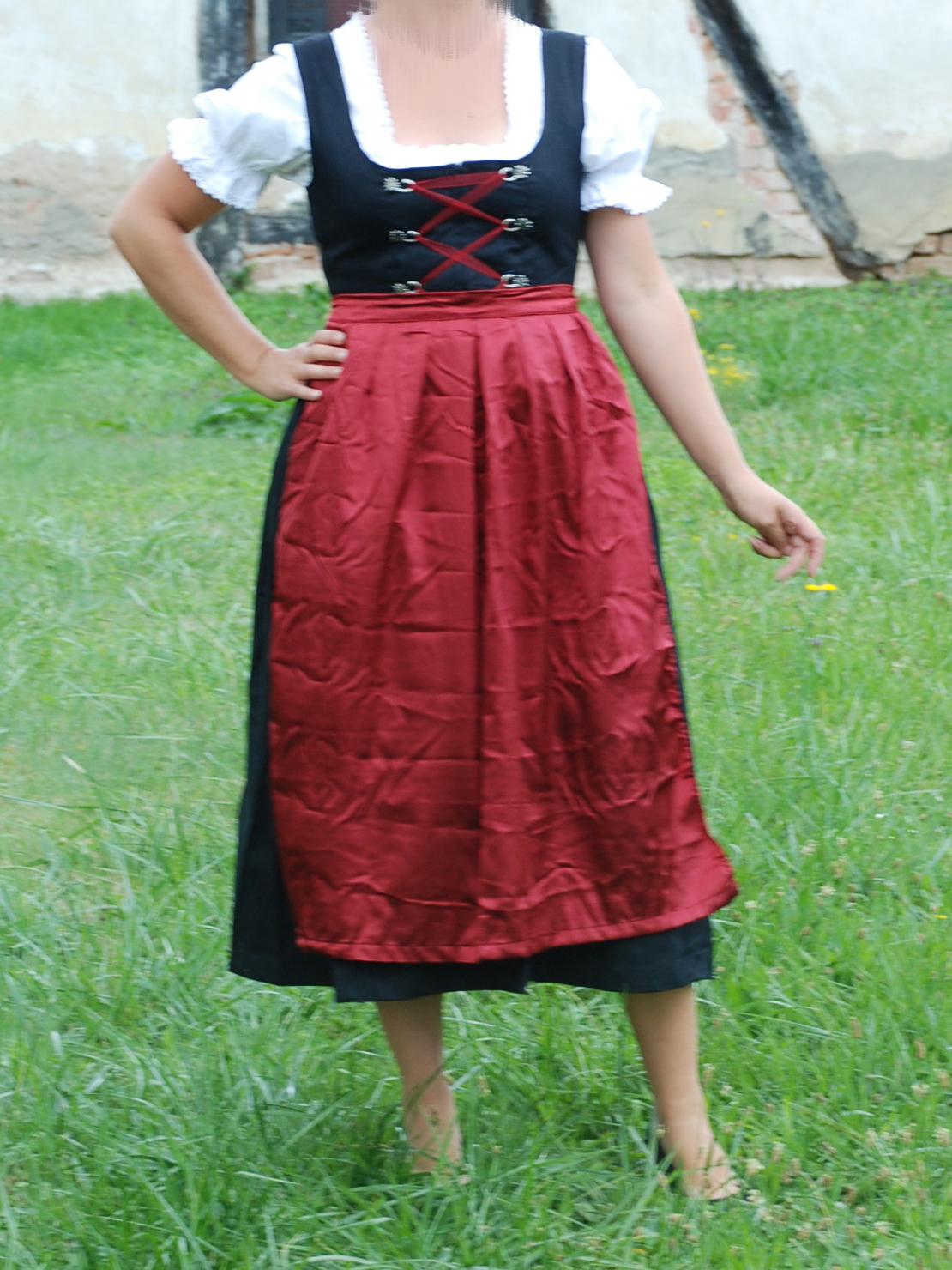 Damen Trachten Kleid schwarz weiß geblümt mit roter Schürze Gr 40